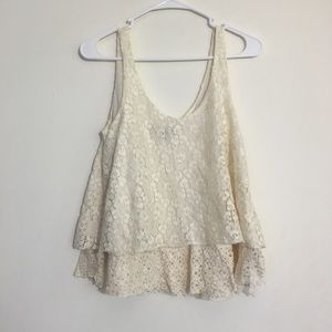 American Eagle Layered Lace Cropped Tank Top